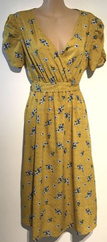 NEW LOOK MATERNITY CROSS OVER YELLOW PRINT DRESS SIZE 12